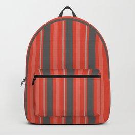 Grey Orange Vertical Lined Stripes Backpack