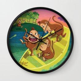 Monkeys on a Boat Wall Clock