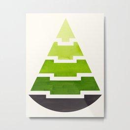 Sap Green Watercolor Minimalist Mid Century Modern Tribal Aztec Pyramid Pattern Metal Print