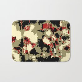 vintage psychedelic geometric painting texture abstract in red brown black Bath Mat