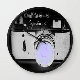 VinTage CaMera Black & White + Lavender Wall Clock