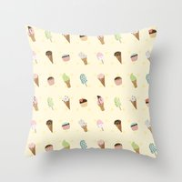 dessert Throw Pillows featuring Dessert Yellow by Olya Yang