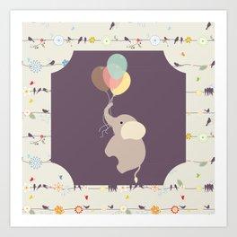 Elephant with Balloons & birds , nursery decor , Art Print