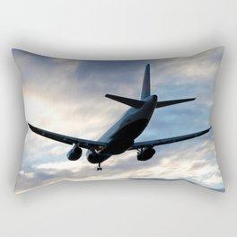 Airliner Landing at Sunset Rectangular Pillow