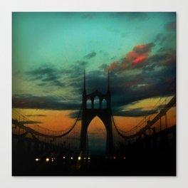 Bridge to Portland - St. Johns - On a Warm October Evening Canvas Print