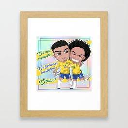 Jogadores Brasileiros Framed Art Print