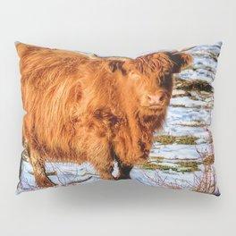 Hamish the Scottish Highland Bull in Winter Snow Pillow Sham