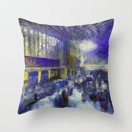 Kings Cross Station Van Gogh Throw Pillow