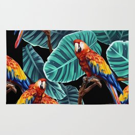 tropical leaves macaw pattern 2 Rug