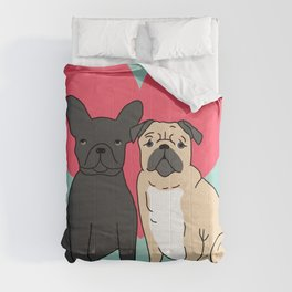 Pug French Bulldog valentine love cute gift for dog person hearts pastel mint kids children puppy Comforters