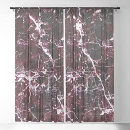 Modern abstract burgundy white stylish marble Sheer Curtain