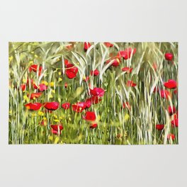 Red Corn Poppies Rug