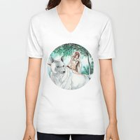 princess mononoke V-neck T-shirts featuring Princess Mononoke by VivianLohArts