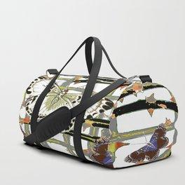 #2 PURPLE-WHITE MOTHS  ON BLACKTHORN LATTICE BRANCHES ART Duffle Bag