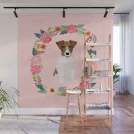 jack russell terrier floral wreath dog breed pet portrait pure breed dog lovers Wall Mural