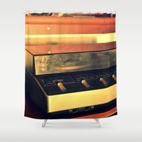 record Shower Curtains featuring record player by gzm_guvenc