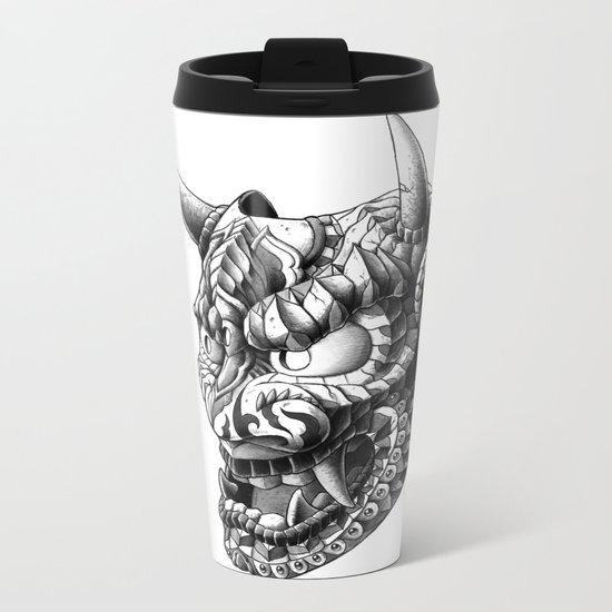 Japanese Demon Mask v.1 Metal Travel Mug