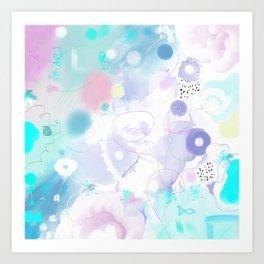 Peinture digitale tons pastels fleurs nuages bulles rose vert bleu jaune blanc Art Print
