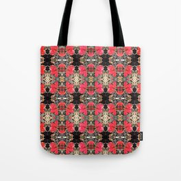 multiple rose pattern, warm red pink ombre Tote Bag