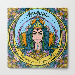 Zodiac: Aquarius  Metal Print
