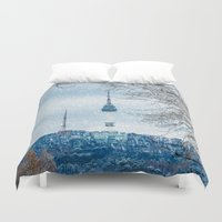 seoul Duvet Covers featuring Seoul Tower - Winter by Zayda Barros