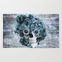 ohm Area & Throw Rugs featuring Blue grunge ohm skull by Kristy Patterson Design