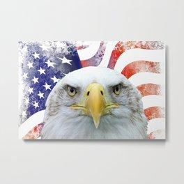 American Flag and Bald Eagle Metal Print