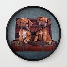 Drawing puppies Rhodesian Ridgeback Wall Clock