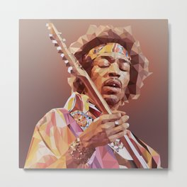 Jimi Hendrix Guitar God Metal Print