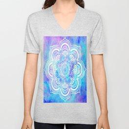 Mandala Pink Lavender Aqua Galaxy Space Unisex V-Neck
