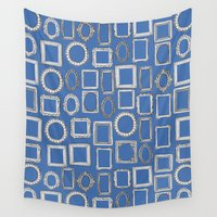 frames Wall Tapestries featuring picture frames blue by Sharon Turner