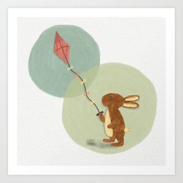 Kite-Flying Bunny Rabbit Illustration Print Art Print