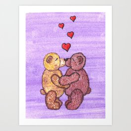 Bears in love Art Print