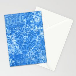 Vintage Airplane Drawing - Blueprint Stationery Cards