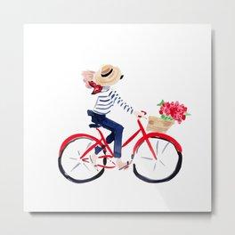 Girl and bike Metal Print