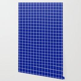 Indigo dye - blue color - White Lines Grid Pattern Wallpaper