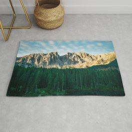 Sunrise mountain view in the Italian Dolomites lake Carezza Rug