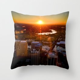 Sunset City Throw Pillow