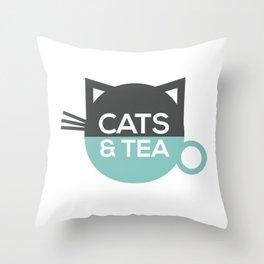 Cats & Tea Throw Pillow