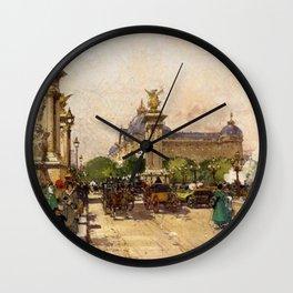 Pont Alexandre III & Grand Palais, Paris by Eugene Galien Laloue Wall Clock
