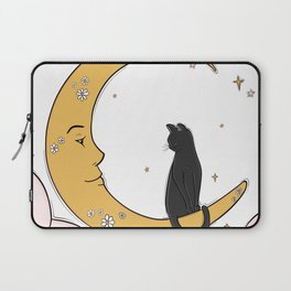 Black Cat on the Moon Laptop Sleeve