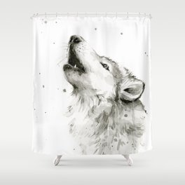 Wolf Howling Shower Curtain