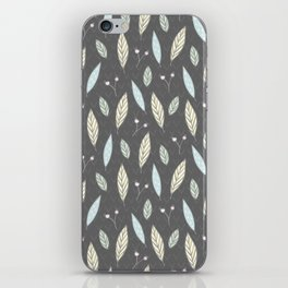 Pastel gray blush blue pink yellow chevron floral leaves iPhone Skin