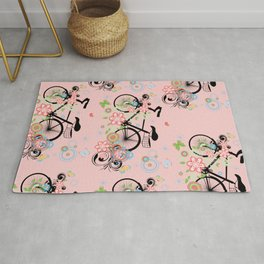Bicycle and Colorful Floral Ornament Rug
