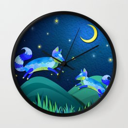 Starlit Foxes Wall Clock