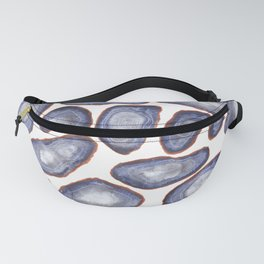 Grey Watercolor Geode Patten, Silver and Blue Agate slice patten Fanny Pack