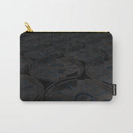 Dark futuristic technological shape with glowing lines Carry-All Pouch