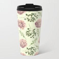 Secret Garden Pink and Green Metal Travel Mug