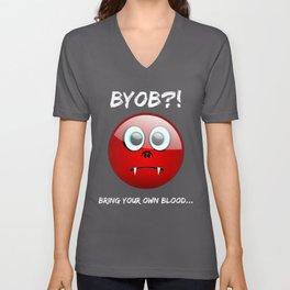 BYOB Bring Your OWN Blood Sad Vampire Smiley Emoji Unisex V-Neck