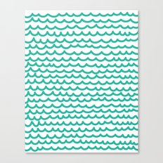 Squiggly Hand Drawn Lines in Mint  Canvas Print